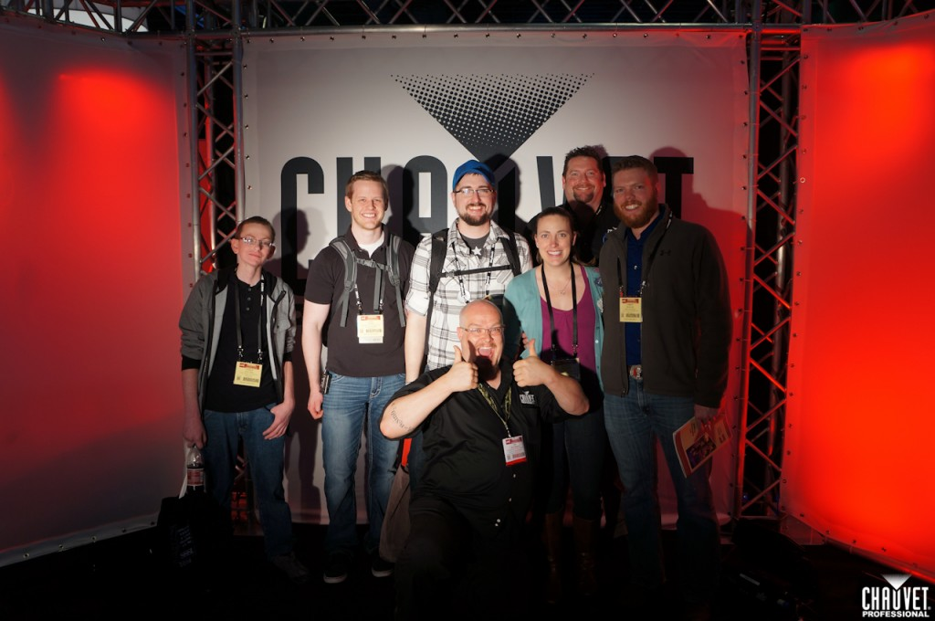 CHAUVET Professional's own Jim Hutchison posing with former students of Oklahoma City University
